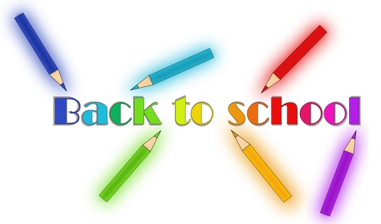 Back to school sign with colored pencils