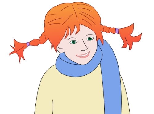Pippi Longstocking hair, orange and red