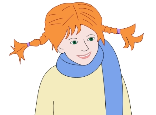 Pippi Longstocking hair, orange