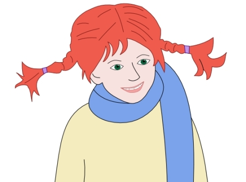 Pippi Longstocking hair, red
